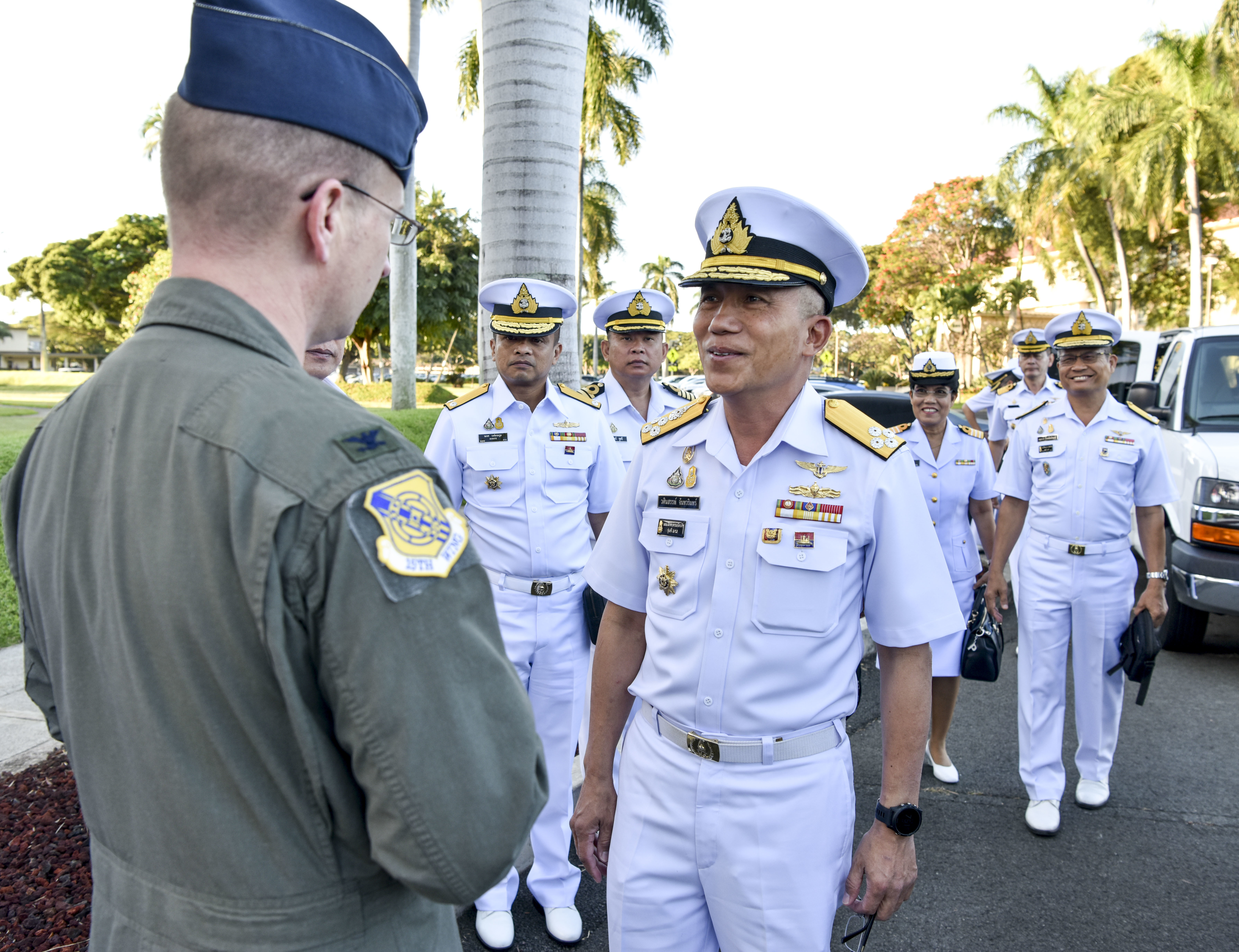 U.S. Air Force Col. W. Halsey Burks, 15th Wing commander, meets Royal Thailand Navy Adm. Vasinsan Chantavarian, Senior Advisor to the Royal Thailand Navy Commander-in-Chief, outside of the wing headquarters building on Joint Base Pearl Harbor-Hickam, Hawaii, Feb. 4, 2020. The United States and Thailand established relations in 1818 and signed a Treaty of Amity and Commerce in 1833, formalizing diplomatic relations. (U.S. Air Force photo by Tech Sgt. Anthony Nelson Jr.)